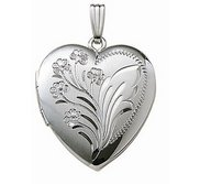 14k White Gold Floral Heart Photo Locket