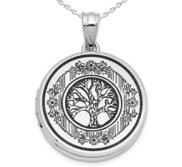 Sterling Silver Tree of Life Round Photo Locket