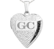 Sterling Silver Textured Initial Heart Photo Locket