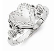Sterling Silver Embossed Ring Heart Photo Locket