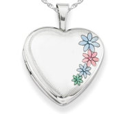 Sterling Silver Enameled Flower Heart Photo Locket