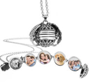Antiqued Expandable 4 Photo Ball Locket with Chain