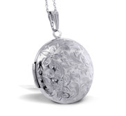Round Floral Photo Locket with 18  Chain