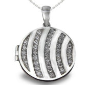 Sterling Silver Cubic Zirconia Round Photo Locket