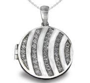 Premium Heavy Weight Sterling Silver Round Locket W  Cubic Zirconia