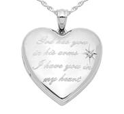 Sterling Silver  God has you    Diamond Heart Photo Locket
