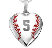 Sterling Silver Personalized Baseball Stitch Heart Photo Locket