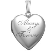 Sterling Silver  Always   Forever  Heart Photo Locket