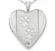 Sterling Silver Two Paw Prints Heart Photo Locket