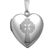 Sterling Silver Celtic Cross Heart Photo Locket