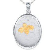 Sterling Silver Two Tone Bee Oval Photo Locket