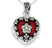 Sterling Silver Red Enamel   Marcasite Heart Photo Locket