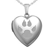 Sterling Silver Cat s Paw Print Heart Photo Locket