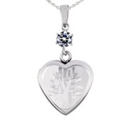 Sterling Silver Small Tree of Life Heart Photo Locket with Cubic Zirconia