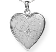 Sterling Silver Floral Heart Photo Locket with Cubic Zirconia