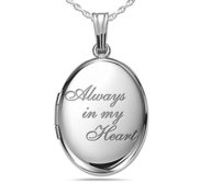 Sterling Silver Always In My Heart Oval Photo Locket