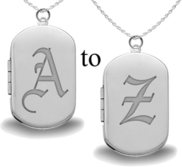 Sterling Silver Old English Initial Dog Tag Photo Locket