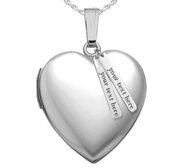 Sterling Silver Heart Photo Locket with Personalized Tabs