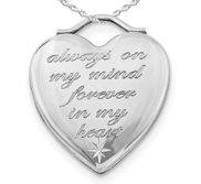 Sterling Silver   Always on my mind  Forever in my heart   Heart Photo Locket