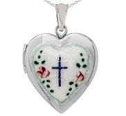 Sterling Silver Enameled Cross Heart Photo Locket