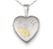 Sterling Silver Gold plated   Diamond Angel Heart Photo Locket