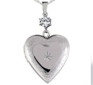 Sterling Silver Floral Heart Photo Locket with Cubic Zirconia Accent