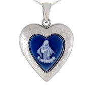 Sterling Silver Mother Blue Cameo Heart Photo Locket