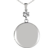 Sterling Silver Classic Round Photo Locket with Cubic Zirconia Accent