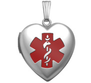Sterling Silver Medical ID Heart Photo Locket