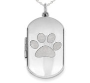 Sterling Silver Dog Tag Dog Paw Photo Locket