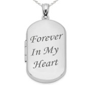 Sterling Silver Forever In My Heart Dog Tag Photo Locket