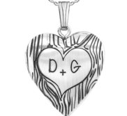 Sterling Silver Couples Tree Carving Heart Photo Locket