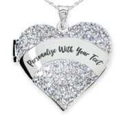Sterling Silver Personalized Cubic Zirconia Pave Heart Photo Locket