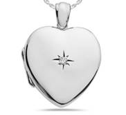 Sterling Silver Diamond Heavy Weight Heart Photo Locket