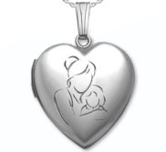 Sterling Silver  Mom and Daughter  Heart Photo Locket
