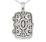 Sterling Silver Cubic Zirconia Rectangle Photo Locket