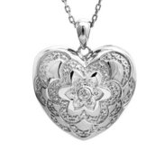 Sterling Silver Diamond Heart Photo Locket