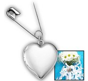 Sterling Silver Wedding Bouquet Heart Photo Locket With Safety Pin