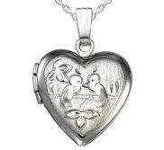 Sterling Silver Love Birds Heart Photo Locket