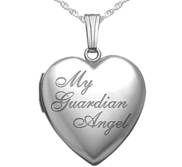 Sterling Silver   My Guardian Angel   Heart Photo Locket