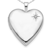 Sterling Silver Engravable Diamond Heart Photo Locket