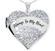 Sterling Silver   Always In My Heart   Cubic Zirconia Pave Heart Photo Locket