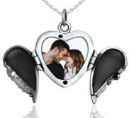 Sterling Silver Angel Wing Heart Photo Locket