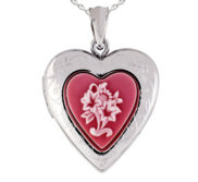 Sterling Silver Red Floral Cameo Heart Photo Locket