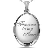 Sterling Silver Forever In My Heart Oval Photo Locket