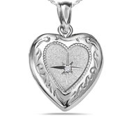 Sterling Silver Small Diamond Heart Photo Locket