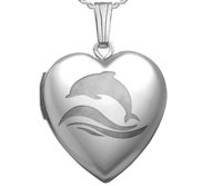 Sterling Silver Dolphin Heart Photo Locket