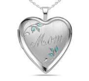 Sterling Silver Mom Heart Photo Locket
