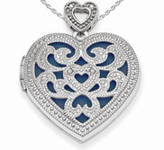 Sterling Silver Vintage Diamond Heart Photo Locket