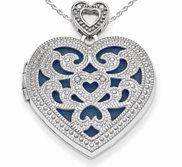 Sterling Silver Vintage Diamond Heart Photo Locket